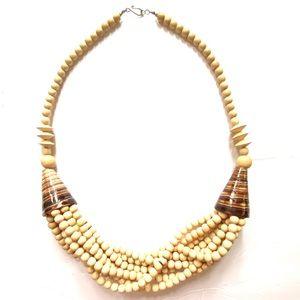 Vintage Boho Wood Beaded statement necklace